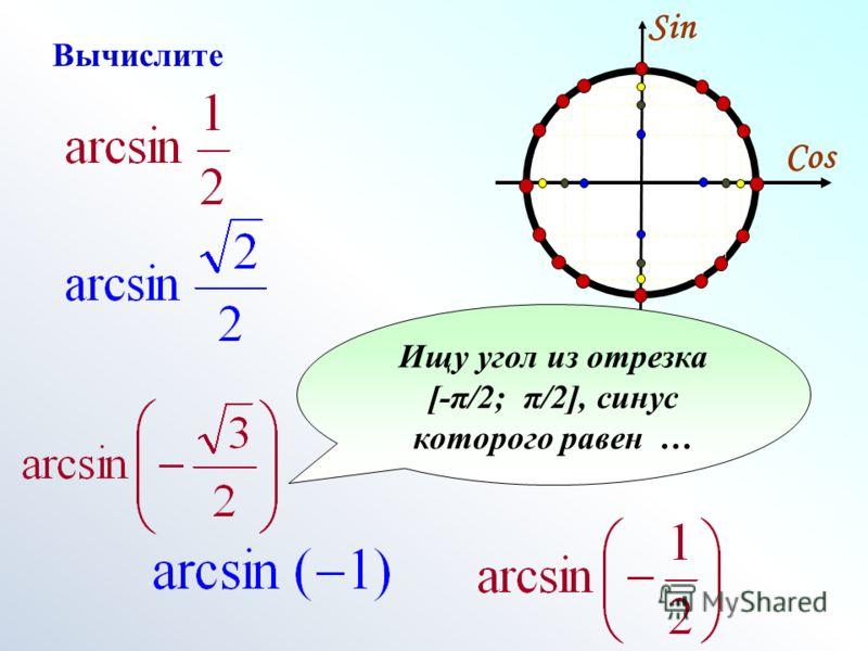 Cos Sin Ищу угол из отрезка [-π/2; π/2], синус которого равен … Вычислите