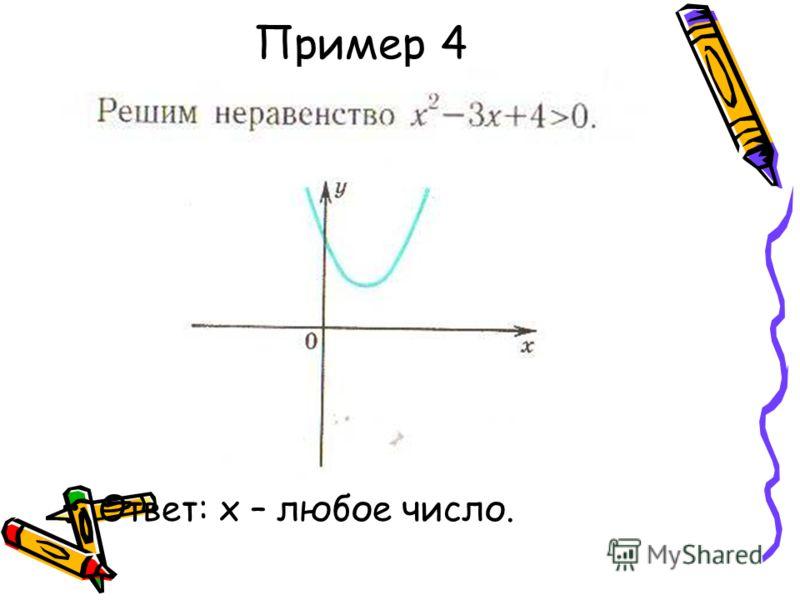 Пример 4 Ответ: х – любое число.