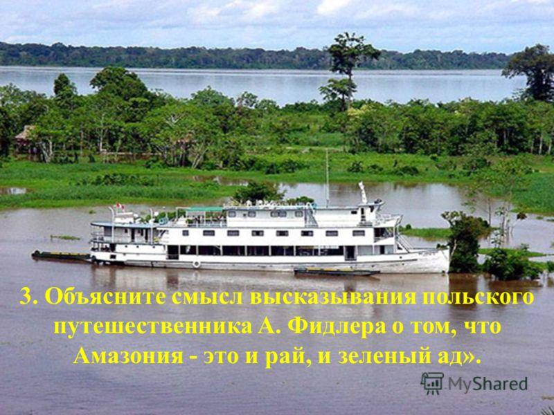 3. Объясните смысл высказывания польского путешественника А. Фидлера о том, что Амазония - это и рай, и зеленый ад».