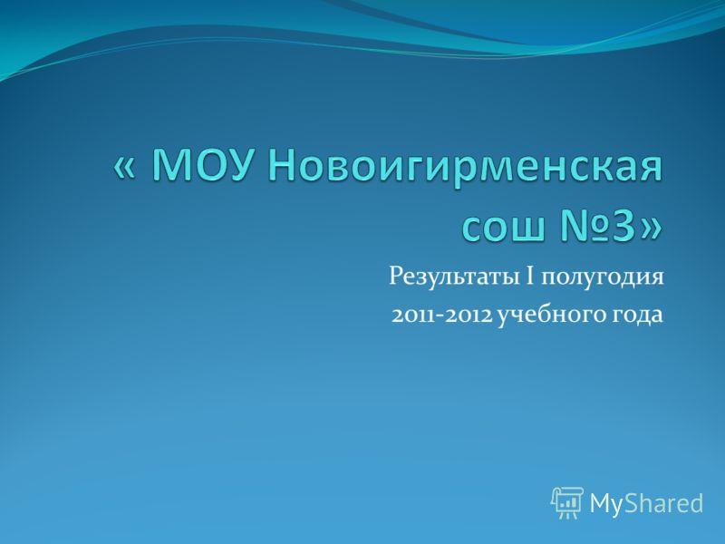 Результаты I полугодия 2011-2012 учебного года
