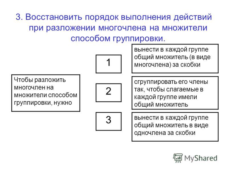 3. Восстановить порядок выполнения действий при разложении многочлена на множители способом группировки. Чтобы разложить многочлен на множители способом группировки, нужно 3 2 1 вынести в каждой группе общий множитель (в виде многочлена) за скобки сг