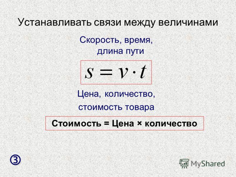 Устанавливать связи между величинами Скорость, время, длина пути Цена, количество, стоимость товара Стоимость = Цена × количество