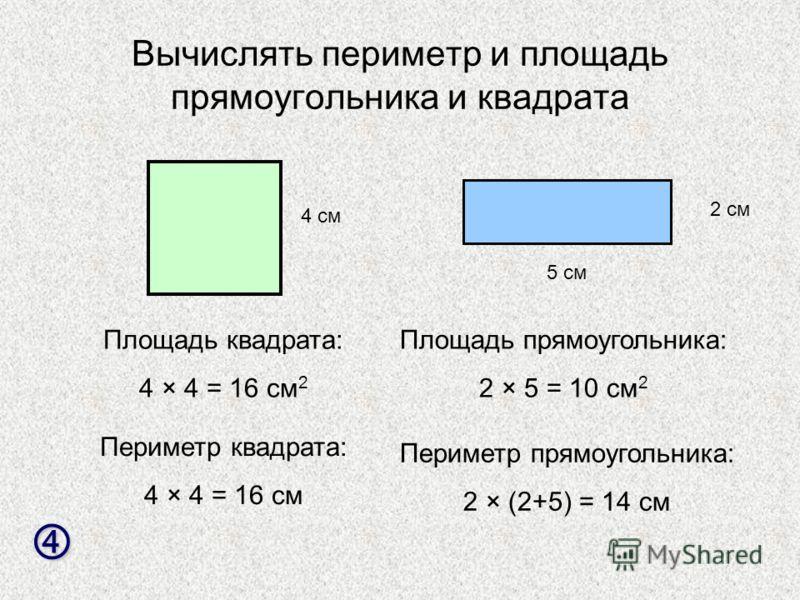 Вычислять периметр и площадь прямоугольника и квадрата 4 см 5 см 2 см Площадь квадрата: 4 × 4 = 16 см 2 Периметр квадрата: 4 × 4 = 16 см Площадь прямоугольника: 2 × 5 = 10 см 2 Периметр прямоугольника: 2 × (2+5) = 14 см