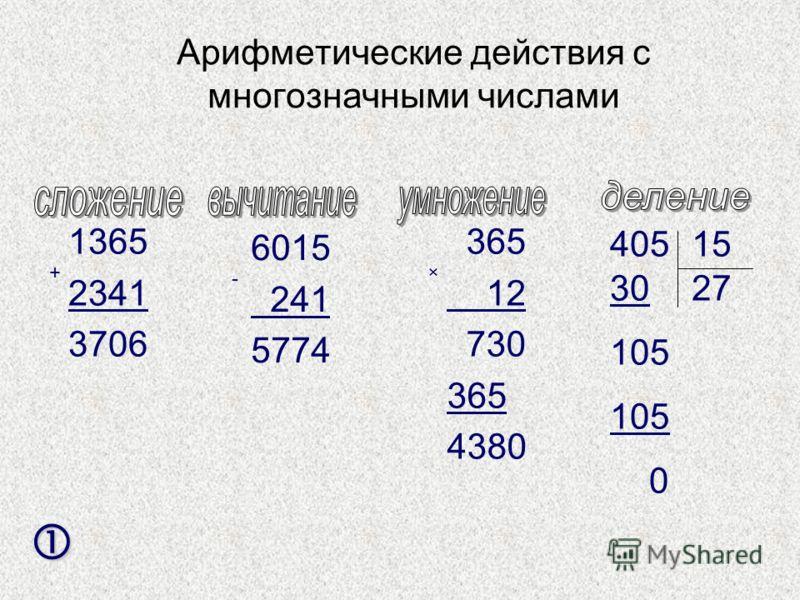 Арифметические действия с многозначными числами 1365 2341 3706 + 6015 241 5774 - 365 12 730 365 4380 × 40515 30 105 0 27