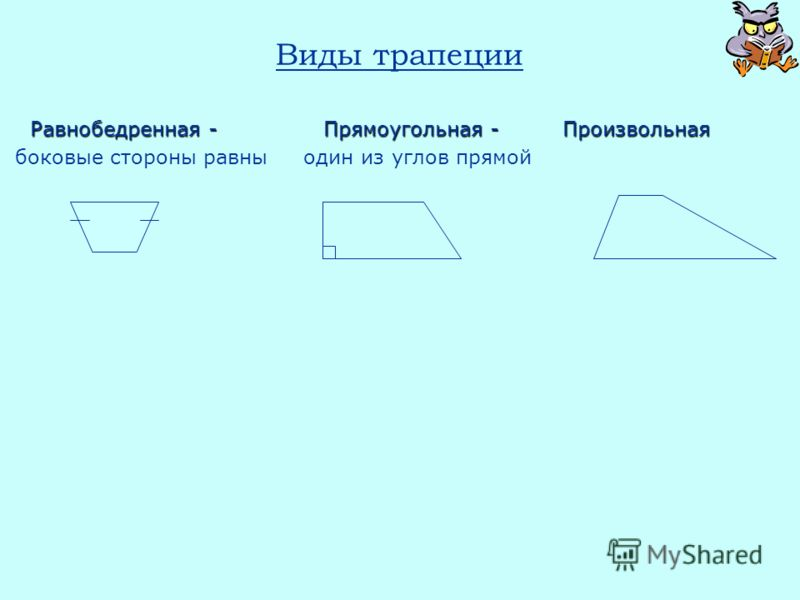 Виды трапеции Равнобедренная - Прямоугольная - Произвольная Равнобедренная - Прямоугольная - Произвольная боковые стороны равны один из углов прямой