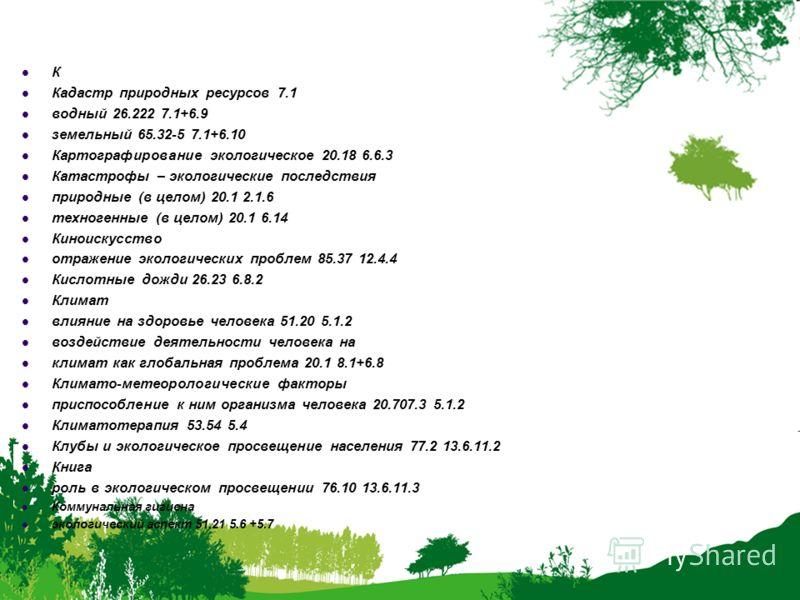 К Кадастр природных ресурсов 7.1 водный 26.222 7.1+6.9 земельный 65.32-5 7.1+6.10 Картографирование экологическое 20.18 6.6.3 Катастрофы – экологические последствия природные (в целом) 20.1 2.1.6 техногенные (в целом) 20.1 6.14 Киноискусство отражени