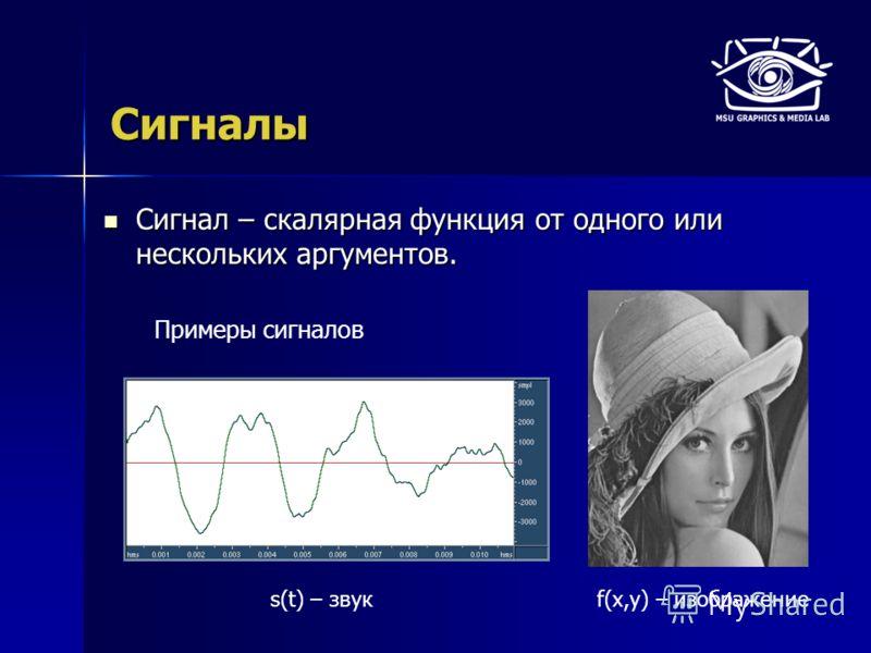 Сигналы Сигнал – скалярная функция от одного или нескольких аргументов. Сигнал – скалярная функция от одного или нескольких аргументов. s(t) – звук Примеры сигналов f(x,y) – изображение
