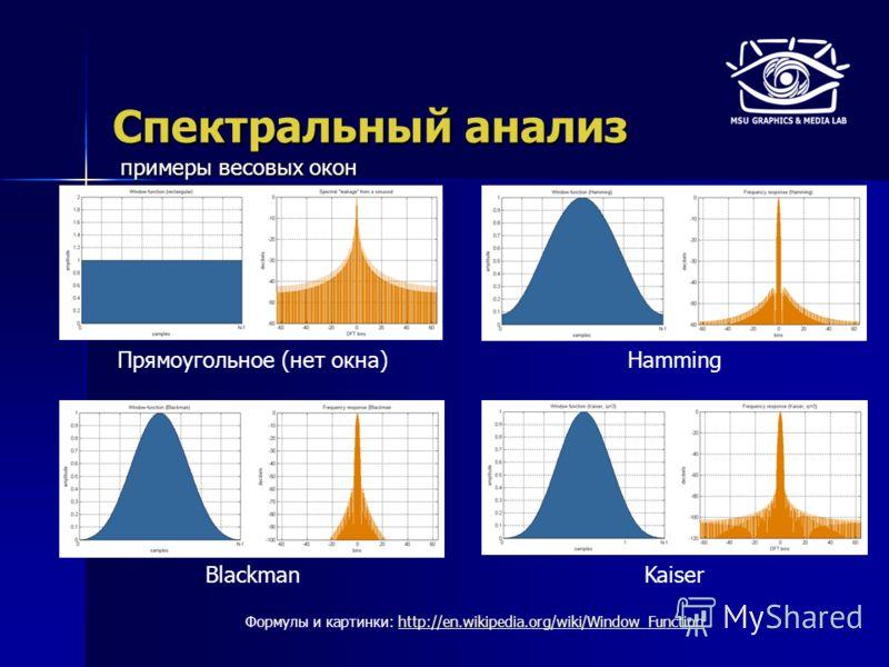 Спектральный анализ Прямоугольное (нет окна)Hamming BlackmanKaiser Формулы и картинки: http://en.wikipedia.org/wiki/Window_Functionhttp://en.wikipedia.org/wiki/Window_Function примеры весовых окон