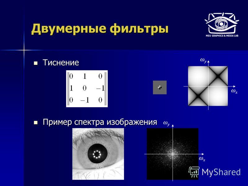 Тиснение Тиснение Пример спектра изображения Пример спектра изображения Двумерные фильтры ωyωy ωxωx ωyωy ωxωx