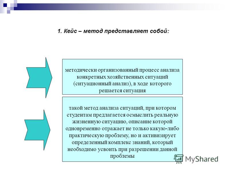 1. Кейс – метод представляет собой: методически организованный процесс анализа конкретных хозяйственных ситуаций (ситуационный анализ), в ходе которого решается ситуация такой метод анализа ситуаций, при котором студентам предлагается осмыслить реаль