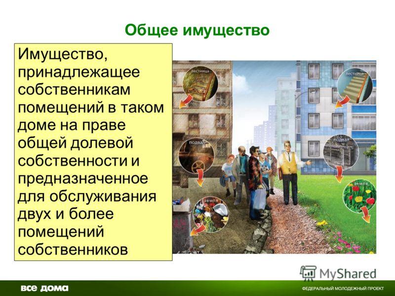 Общее имущество Имущество, принадлежащее собственникам помещений в таком доме на праве общей долевой собственности и предназначенное для обслуживания двух и более помещений собственников