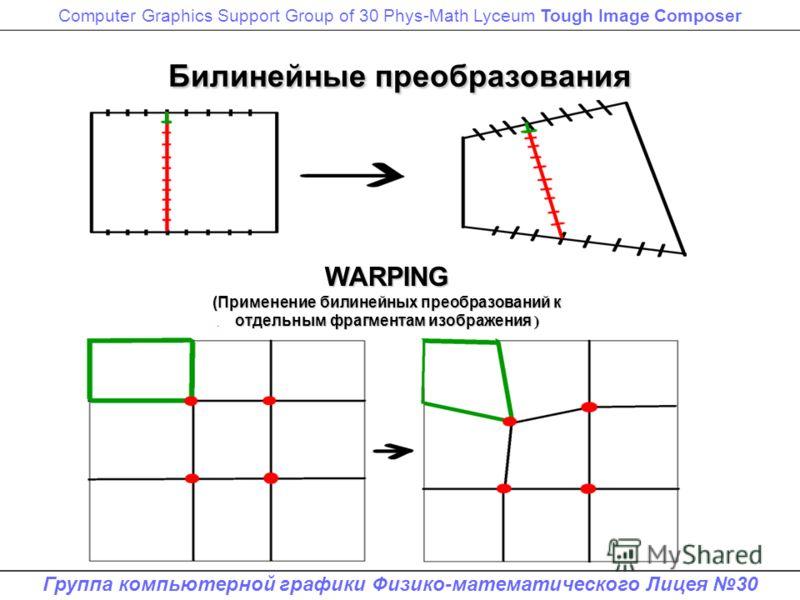 Computer Graphics Support Group of 30 Phys-Math Lyceum Tough Image Composer Группа компьютерной графики Физико-математического Лицея 30 Билинейные преобразования WARPING (Применение билинейных преобразований к отдельным фрагментам изображения )
