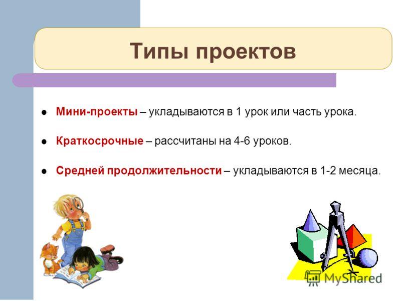 Типы проектов Мини-проекты – укладываются в 1 урок или часть урока. Краткосрочные – рассчитаны на 4-6 уроков. Средней продолжительности – укладываются в 1-2 месяца.