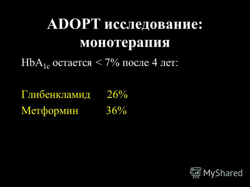 ADOPT исследование: монотерапия HbA 1c остается < 7% после 4 лет: Глибенкламид 26% Метформин 36%