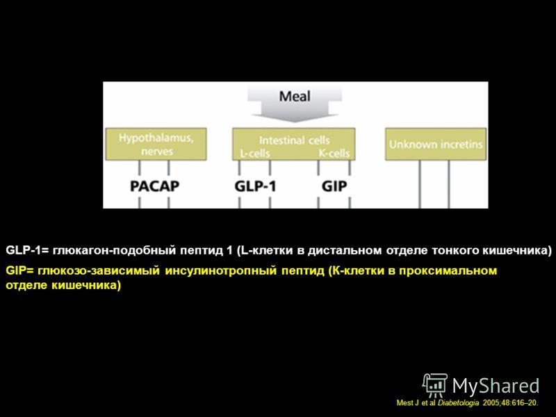 Mest J et al Diabetologia 2005;48:616–20. GLP-1= глюкагон-подобный пептид 1 (L-клетки в дистальном отделе тонкого кишечника) GIP= глюкозо-зависимый инсулинотропный пептид (К-клетки в проксимальном отделе кишечника)