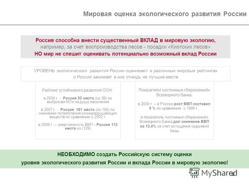4 Мировая оценка экологического развития России УРОВЕНЬ экологического развития России оценивают в различных мировых рейтингах и Россия занимает в них отнюдь не лучшие места Рейтинг устойчивого развития ООН : в 2006 г. - Россия 30 место (из 38) по вы