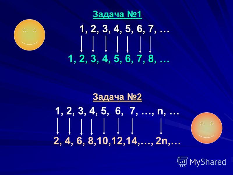 Задача 1 1, 2, 3, 4, 5, 6, 7, … 1, 2, 3, 4, 5, 6, 7, 8, … Задача 2 1, 2, 3, 4, 5, 6, 7, …, n, … 2, 4, 6, 8,10,12,14,…, 2n,…
