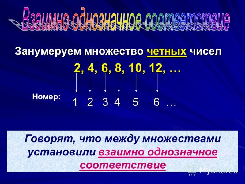 Занумеруем множество четных чисел 2, 4, 6, 8, 10, 12, … 1 2 3 4 5 6 … Номер: Говорят, что между множествами установили взаимно однозначное соответствие