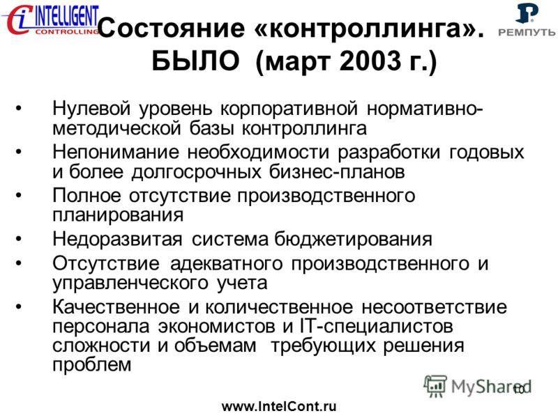 www.IntelCont.ru 10 Состояние «контроллинга». БЫЛО (март 2003 г.) Нулевой уровень корпоративной нормативно- методической базы контроллинга Непонимание необходимости разработки годовых и более долгосрочных бизнес-планов Полное отсутствие производствен