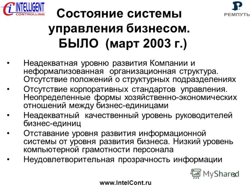 www.IntelCont.ru 9 Состояние системы управления бизнесом. БЫЛО (март 2003 г.) Неадекватная уровню развития Компании и неформализованная организационная структура. Отсутствие положений о структурных подразделениях Отсутствие корпоративных стандартов у
