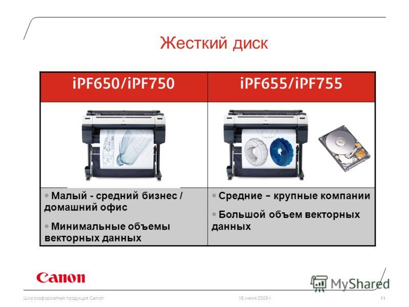 15 июня 2009 г.Широкоформатная продукция Canon 11 Жесткий диск iPF650/iPF750iPF655/iPF755 М алый - средний бизнес / домашний офис Минимальные объемы векторных данных Средние – крупные компании Большой объем векторных данных