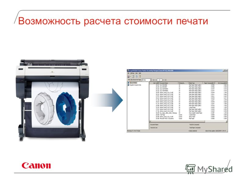 Возможность расчета стоимости печати