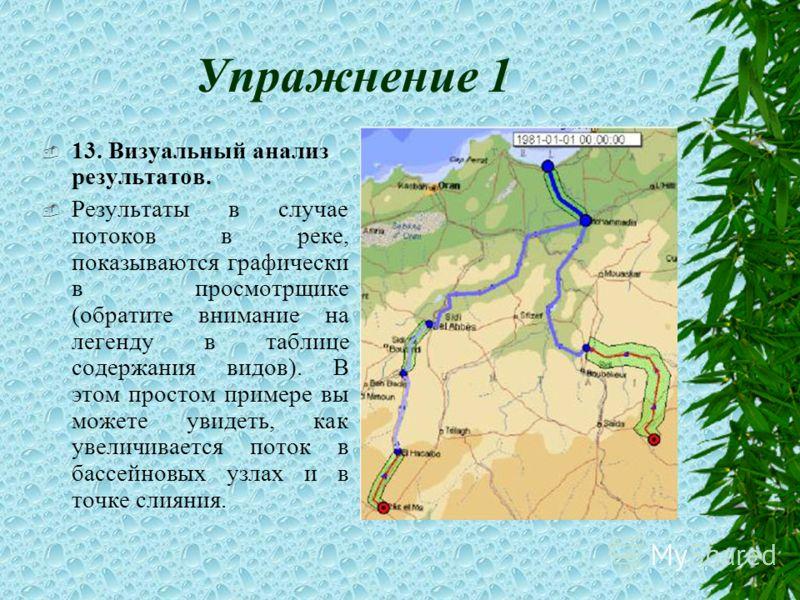 Упражнение 1 13. Визуальный анализ результатов. Результаты в случае потоков в реке, показываются графически в просмотрщике (обратите внимание на легенду в таблице содержания видов). В этом простом примере вы можете увидеть, как увеличивается поток в