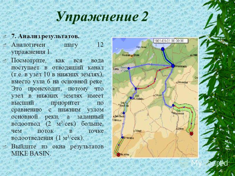 Упражнение 2 7. Анализ результатов. Аналогичен шагу 12 упражнения 1. Посмотрите, как вся вода поступает в отводящий канал (т.е. в узел 10 в нижних землях), вместо узла 6 на основной реке. Это происходит, потому что узел в нижних землях имеет высший п