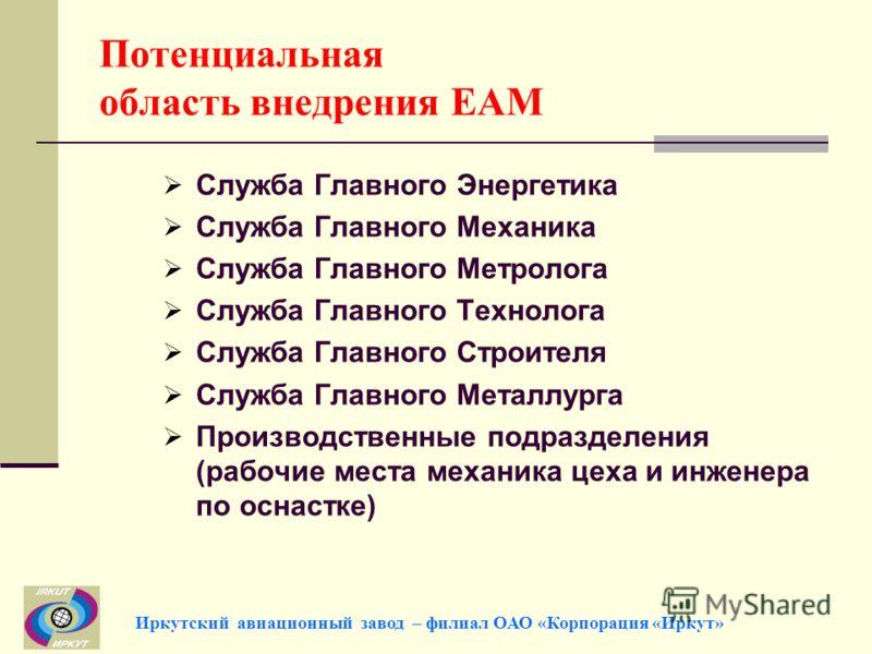 Потенциальная область внедрения EAM Служба Главного Энергетика Служба Главного Механика Служба Главного Метролога Служба Главного Технолога Служба Главного Строителя Служба Главного Металлурга Производственные подразделения (рабочие места механика це