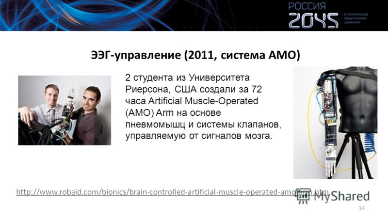 ЭЭГ-управление (2011, система АМО) http://www.robaid.com/bionics/brain-controlled-artificial-muscle-operated-amo-arm.htm 14 2 студента из Университета Риерсона, США создали за 72 часа Artificial Muscle-Operated (AMO) Arm на основе пневмомышц и систем