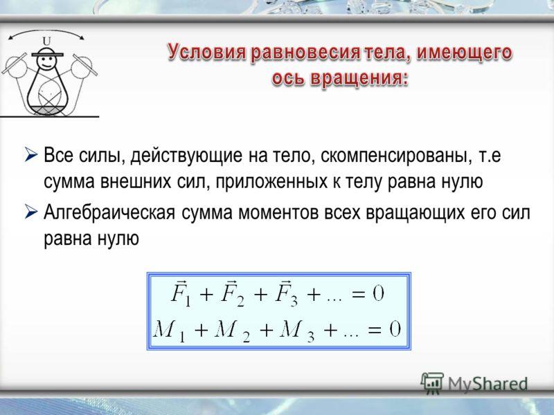 Все силы, действующие на тело, скомпенсированы, т.е сумма внешних сил, приложенных к телу равна нулю Алгебраическая сумма моментов всех вращающих его сил равна нулю