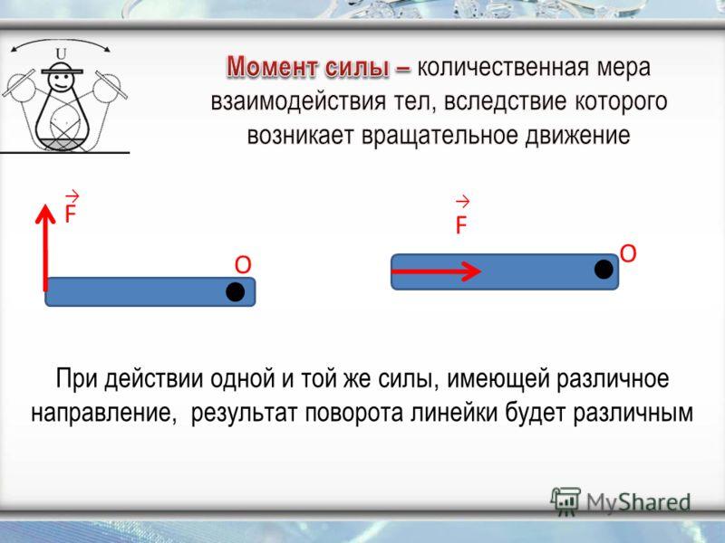 При действии одной и той же силы, имеющей различное направление, результат поворота линейки будет различным F O O F