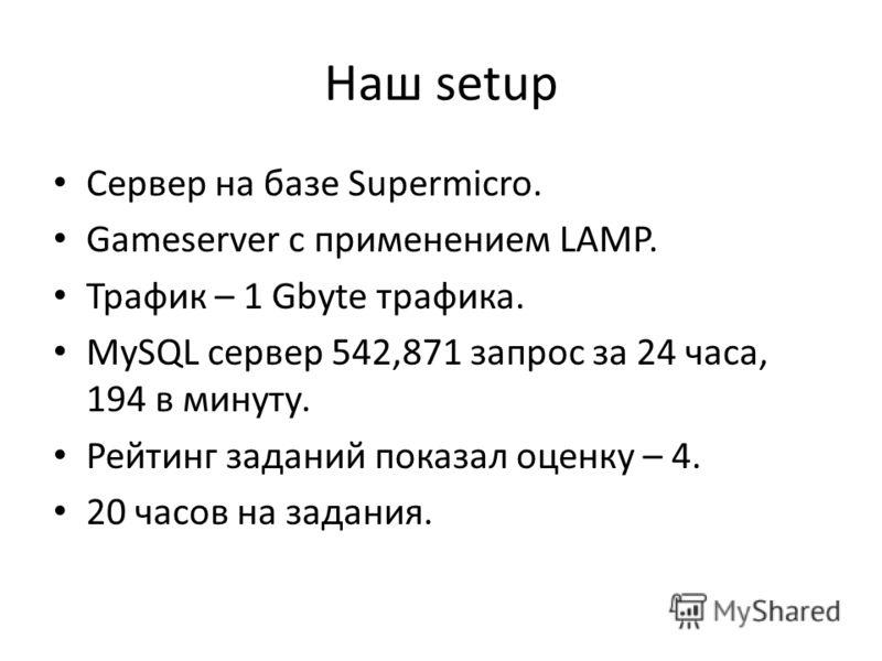 Наш setup Сервер на базе Supermicro. Gameserver с применением LAMP. Трафик – 1 Gbyte трафика. MySQL сервер 542,871 запрос за 24 часа, 194 в минуту. Рейтинг заданий показал оценку – 4. 20 часов на задания.