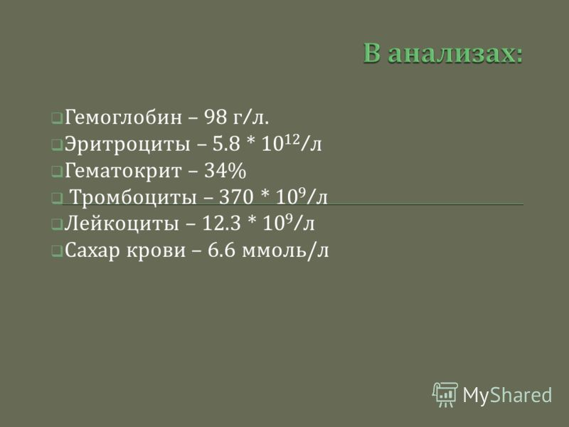 Гемоглобин – 98 г / л. Эритроциты – 5.8 * 10 12 / л Гематокрит – 34% Тромбоциты – 370 * 10 9 / л Лейкоциты – 12.3 * 10 9 / л Сахар крови – 6.6 ммоль / л