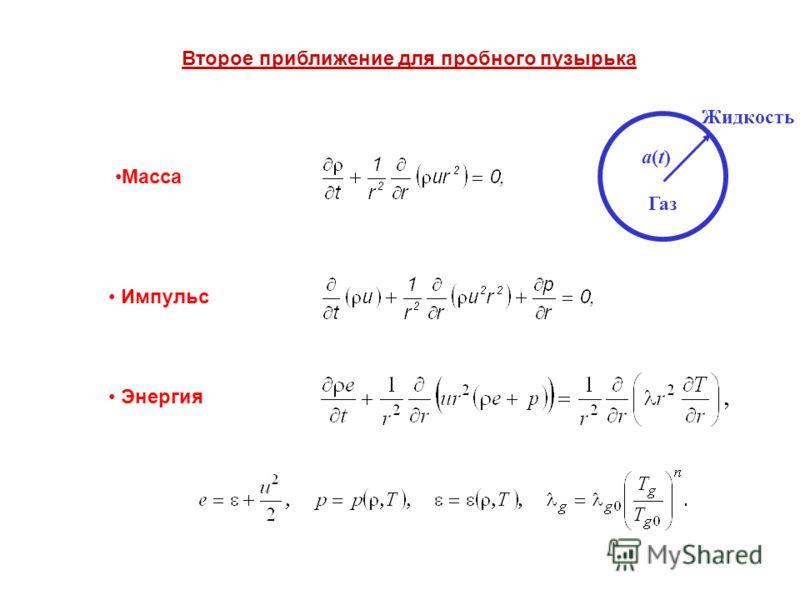 Газ Жидкость a(t)a(t) Mасса Импульс Энергия Второе приближение для пробного пузырька