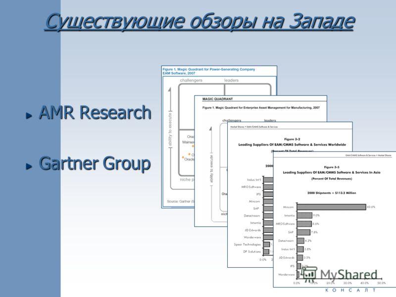 Существующие обзоры на Западе AMR Research Gartner Group