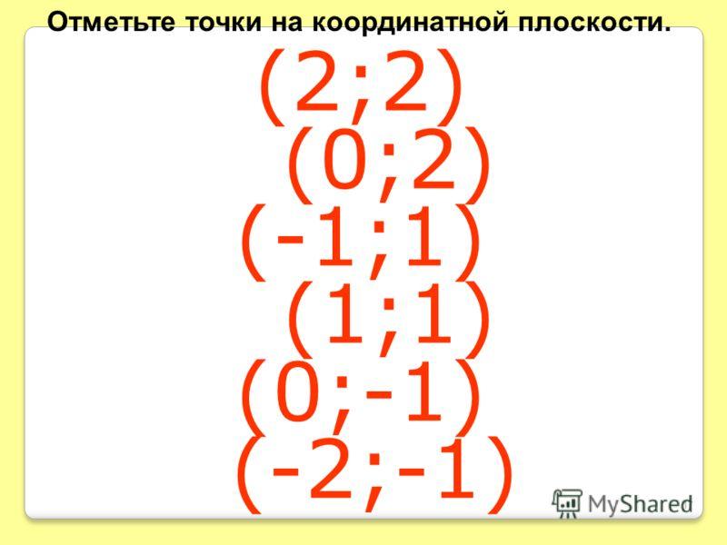 (2;2) (0;2) (-1;1) (1;1) (0;-1) (-2;-1) Отметьте точки на координатной плоскости. 17