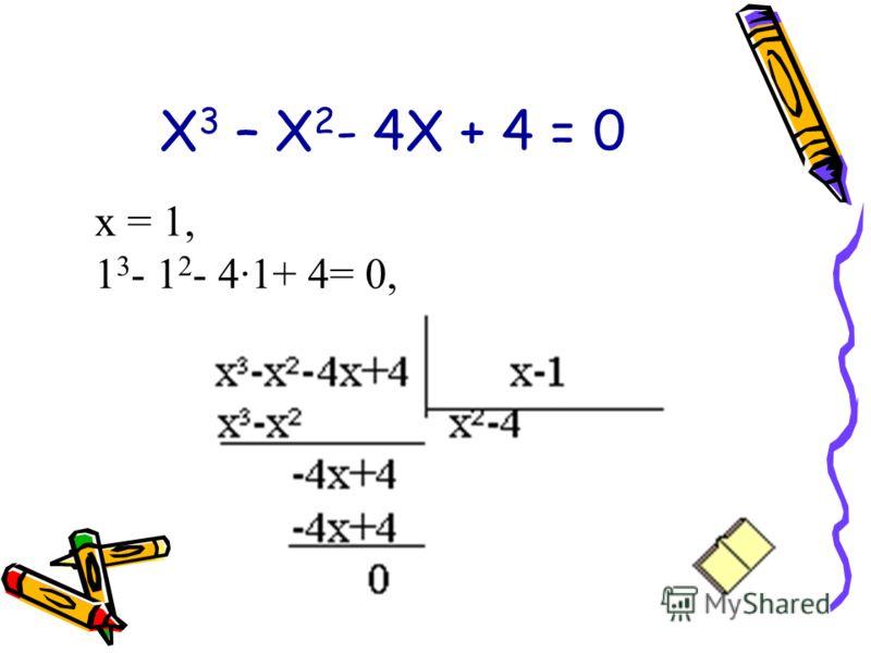 Х 3 – Х 2 - 4Х + 4 = 0 х = 1, 1 3 - 1 2 - 4·1+ 4= 0,