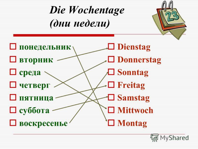 Die Wochentage (дни недели) Dienstag Donnerstag Sonntag Freitag Samstag Mittwoch Montag понедельник вторник среда четверг пятница суббота воскресенье