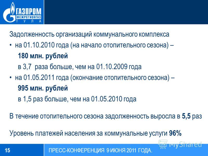 Задолженность организаций коммунального комплекса на 01.10.2010 года (на начало отопительного сезона) – 180 млн. рублей в 3,7 раза больше, чем на 01.10.2009 года на 01.05.2011 года (окончание отопительного сезона) – 995 млн. рублей в 1,5 раз больше,