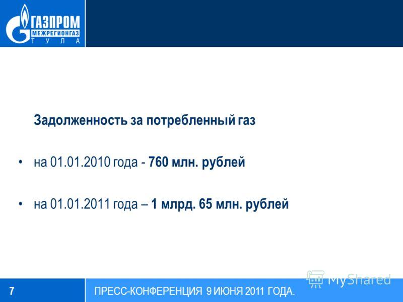 Задолженность за потребленный газ на 01.01.2010 года - 760 млн. рублей на 01.01.2011 года – 1 млрд. 65 млн. рублей 7 ПРЕСС-КОНФЕРЕНЦИЯ 9 ИЮНЯ 2011 ГОДА.