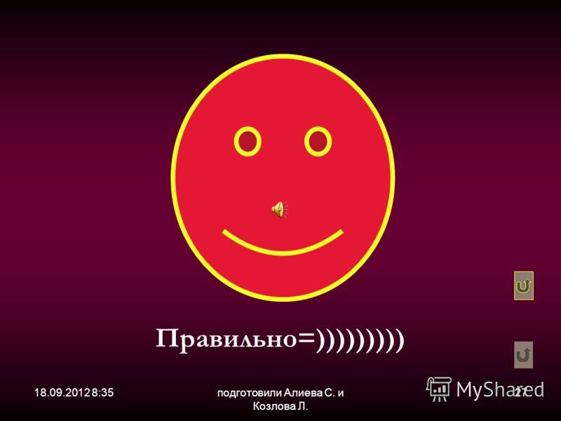 18.09.2012 8:36подготовили Алиева С. и Козлова Л. 27 Правильно=)))))))))