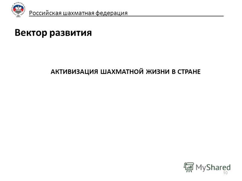 Российская шахматная федерация_____________________________ Вектор развития АКТИВИЗАЦИЯ ШАХМАТНОЙ ЖИЗНИ В СТРАНЕ 10