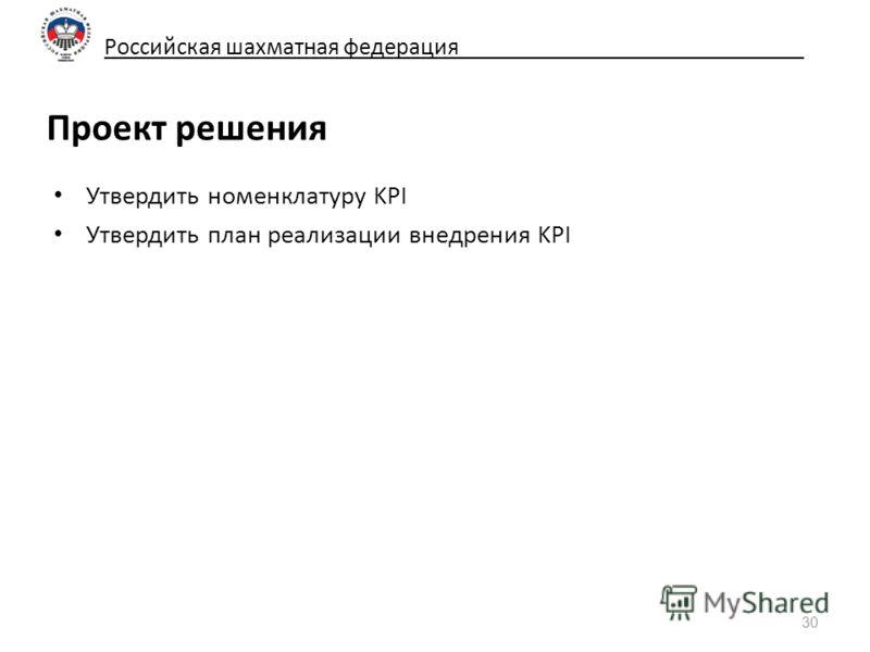Российская шахматная федерация_____________________________ Проект решения Утвердить номенклатуру KPI Утвердить план реализации внедрения KPI 30