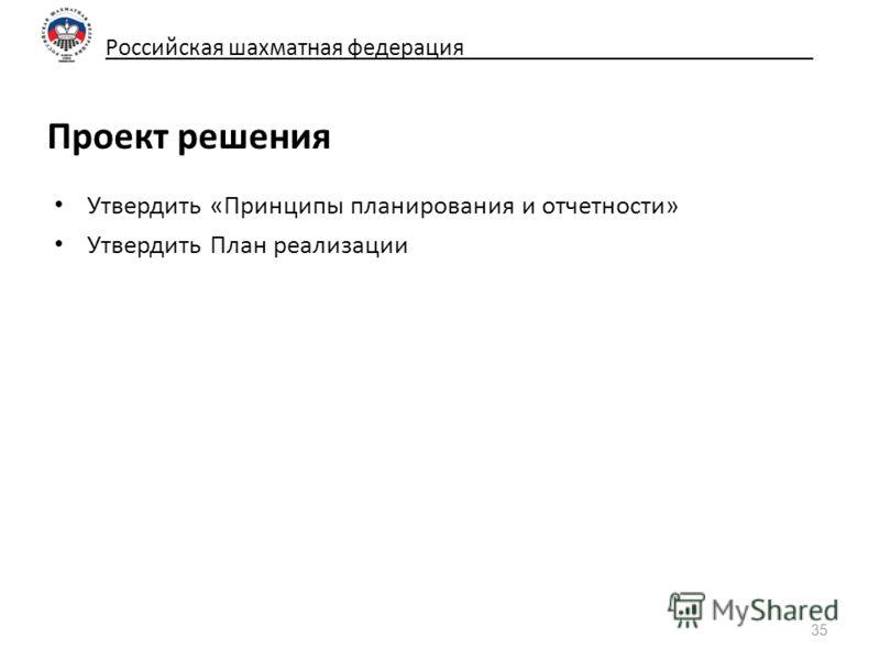 Российская шахматная федерация_____________________________ Проект решения Утвердить «Принципы планирования и отчетности» Утвердить План реализации 35