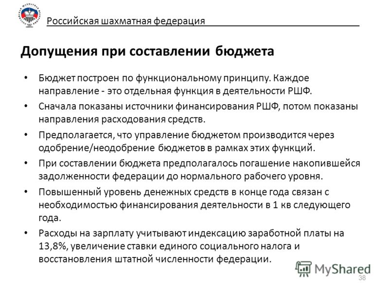Российская шахматная федерация_____________________________ Допущения при составлении бюджета Бюджет построен по функциональному принципу. Каждое направление - это отдельная функция в деятельности РШФ. Сначала показаны источники финансирования РШФ, п