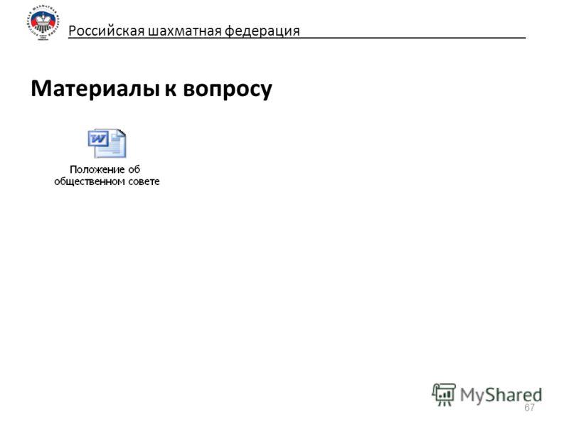 Российская шахматная федерация_____________________________ Материалы к вопросу 67