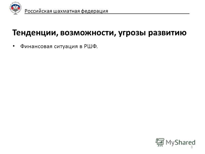 Российская шахматная федерация_____________________________ Тенденции, возможности, угрозы развитию Финансовая ситуация в РШФ. 8