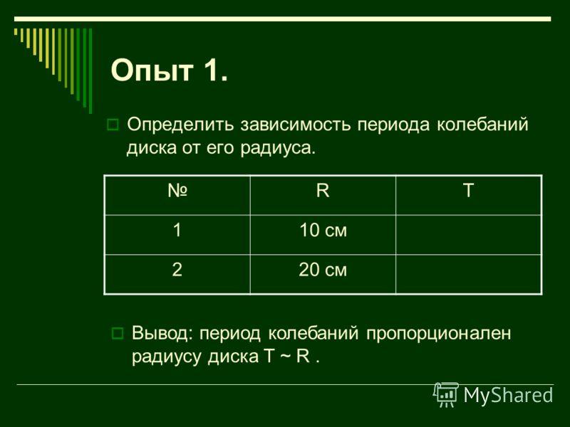 Опыт 1. Определить зависимость периода колебаний диска от его радиуса. RT 110 см 220 см Вывод: период колебаний пропорционален радиусу диска T ~ R.