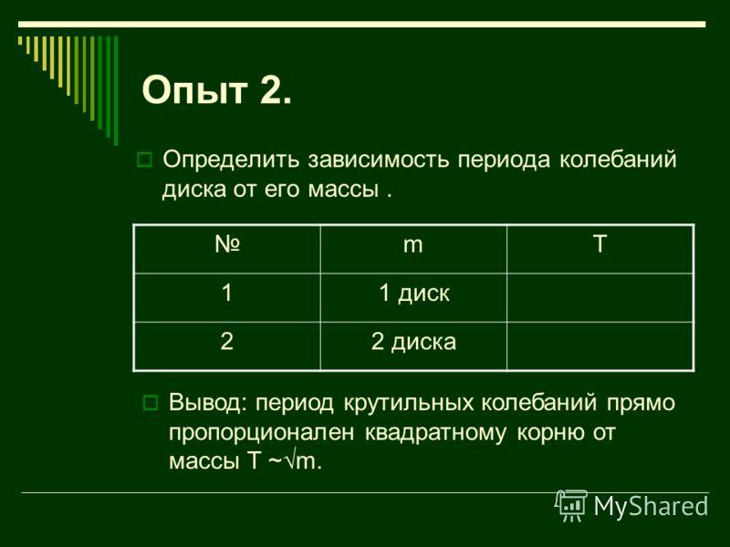 Опыт 2. Определить зависимость периода колебаний диска от его массы. mT 11 диск 22 диска Вывод: период крутильных колебаний прямо пропорционален квадратному корню от массы T ~m.